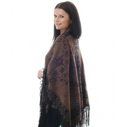 Alpaca Reversible Ruana Cape Brown & Black