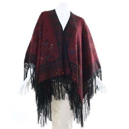 Alpaca Reversible Ruana Cape Red