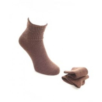 Alpaca & Wool Plain Socks Brown