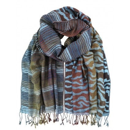 Hand Woven Silk Scarf Skylight Wave Blue