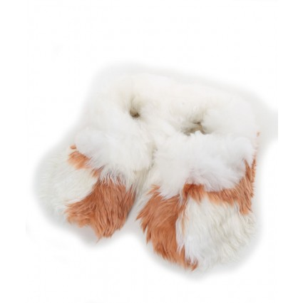 Alpaca Slippers Adult Rose Gold & White