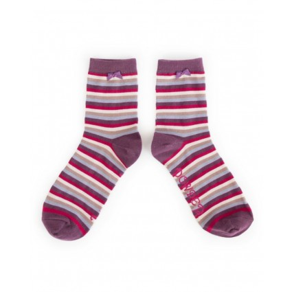 Powder Striped Bamboo Ankle Socks Damson