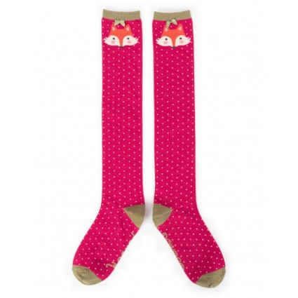Powder Fox Bamboo Knee Socks Berry