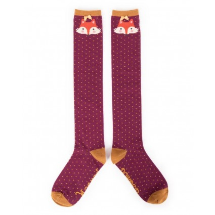 Powder Fox Bamboo Knee Socks Damson
