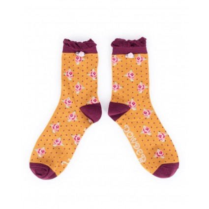 Powder Rosebud Bamboo Ankle Socks Mustard