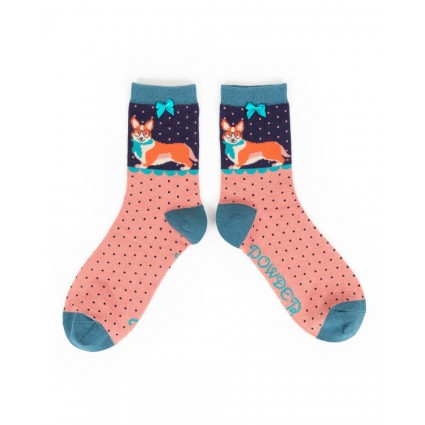 Powder Bamboo Corgi Socks