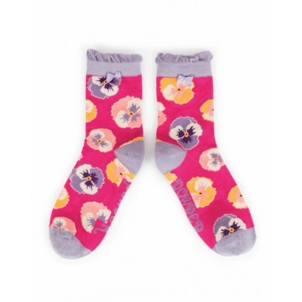 Powder Bamboo Pansy Socks Fuchsia