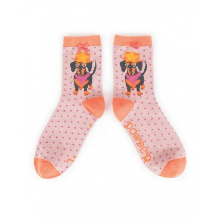 Powder Bamboo Sausage Dog Socks