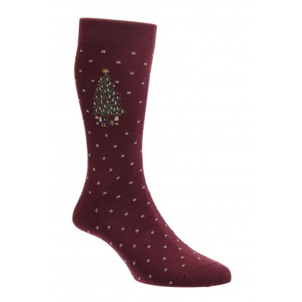 Pantherella Spruce Christmas Socks Burgundy