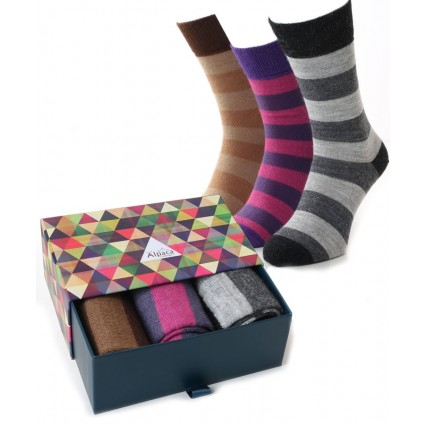 Alpaca Sock Box Stripey Pink/Grey/Camel