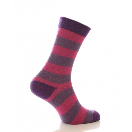 Alpaca Stripey Socks Pink