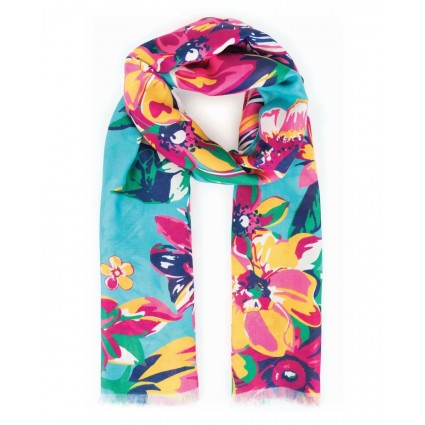 Powder Summer Floral Scarf Turquoise