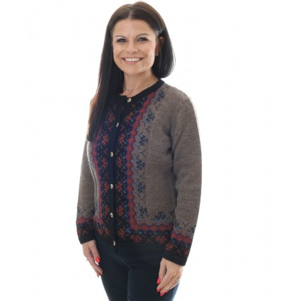 Alpaca Susan Cardigan Brown Print