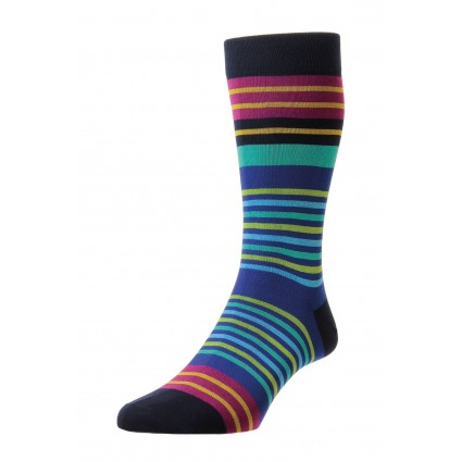 Pantherella Mens Swift Cotton Socks Navy Stripe