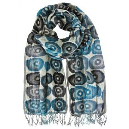 Hand Woven Silk Scarf Target Teal
