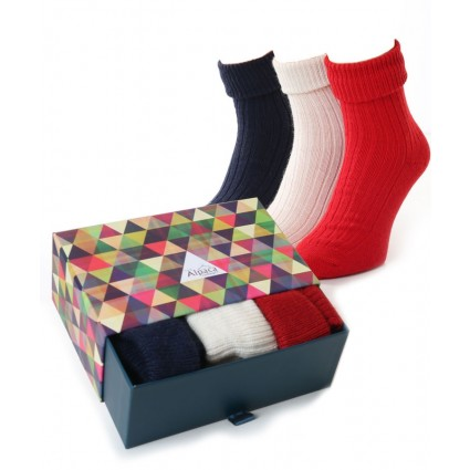 Alpaca Sock Box Turn Down Top Red/Navy/Cream