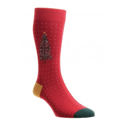 Mens Pantherella Christmas Tree Socks Red