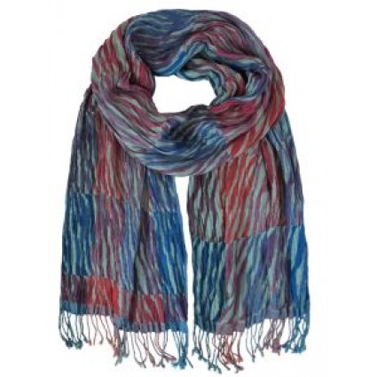 Hand Woven Silk Scarf Tiger Blue