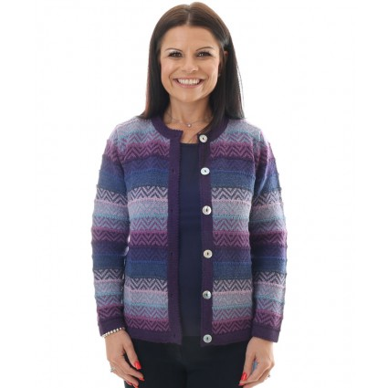 Alpaca Triana Stripey Cardigan Purple