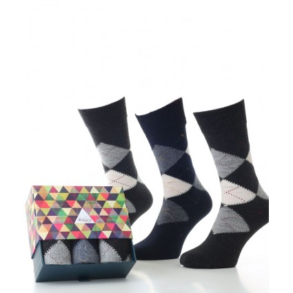 Alpaca Sock Box Argyle Charcoal & Navy