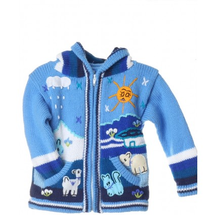 Childrens Applique Cardigan Sky Blue