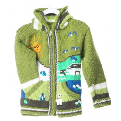 Childrens Applique Cardigan Green