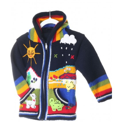 Childrens Applique Cardigan Navy Multi
