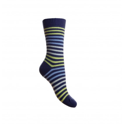 Pantherella Ladies Kyra Cashmere Striped Socks Blue