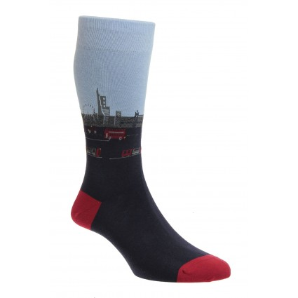 Pantherella Waterloo London Socks Navy