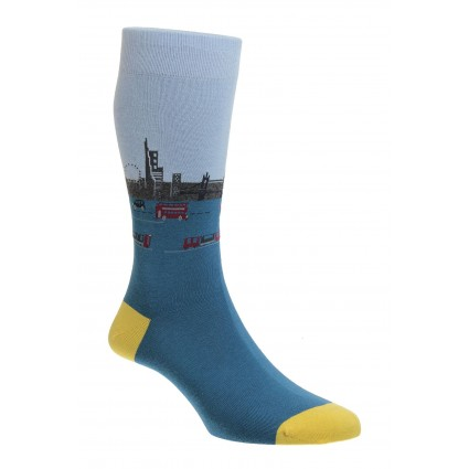 Pantherella Waterloo London Socks Petrol