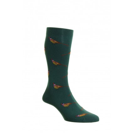 Pantherella Mens Berrington Pheasant Cotton Socks Conifer Green