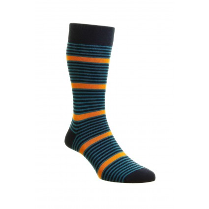 Pantherella Mens Saltash Striped Socks Navy & Orange