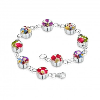 Shrieking Violet Sterling Silver Mixed Flowers Bracelet