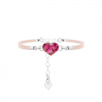 Shrieking Violet Heather Pink Heart Bracelet