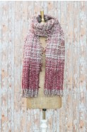 Powder Briony Checked Scarf Berry Red