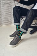 Pantherella Mens Halston Cotton Socks Navy Check