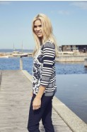 Godske Mixed Floral Striped Navy & White Top