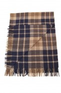 Alpaca & Wool Checked Throw Navy & Brown