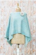 Powder Sophie Poncho With Brooch Ice Blue
