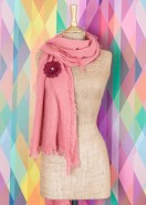 Powder Abigail Scarf With Brooch Pink