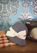 Powder Wool Hat Charcoal With Cream Bow