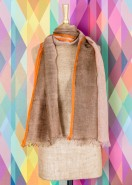 Powder Nancy Linen Tie Dye Scarf Brown & Orange