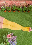 Powder Cotton Long Socks Spotted Yellow