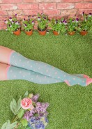 Powder Cotton Long Socks Spotted Green