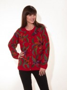 The Alpaca Collection Red Floral Cardigan
