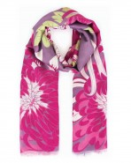 Powder Chrysanthemum Print Scarf