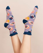 Powder Bamboo Pansy Socks Lavender
