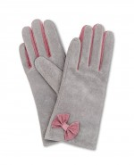 Powder Gertrude Suede Gloves Magenta Slate Grey