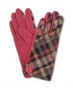 Powder Lesley Wool Checked Gloves Berry