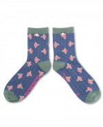 Powder Bamboo Rosebud Ankle Socks Navy